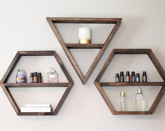 Geometric Shelf, Triangle Shelf, Hexagon Shelf, Shelves, Bohemian Shelves, Modern Shelving, Essential Oil Shelf, Essential Oil Storage
