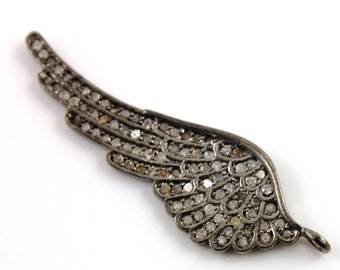 Pave Diamond Pendant, Pave Wing Pendant, Diamond Wing Charm, Pave Wing Necklace, Pave Connector, Oxidized Silver.  (DCH/CR81)