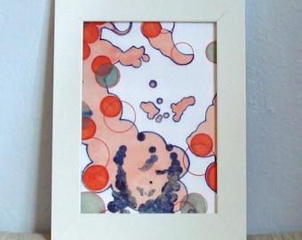 Abstrakte Kunst Gesicht Kreise Orange Blau Grün mit Block-Druck 5 x 7-Kunstdruck-Mischtechnik