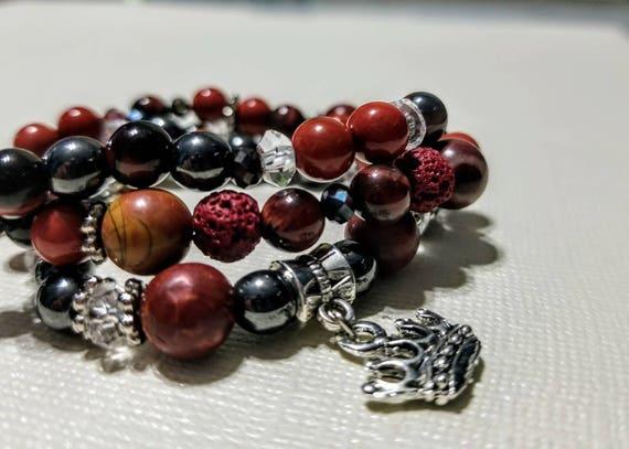 3 Strand Diffuser Power Bracelets - Red Jasper, Hematite, Cinnabar and Lava rock. Yoga, meditation, chakra, mala, buddhist, reiki