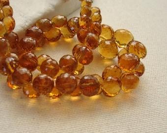 Madeira Citrine Gemstone Onion Briolette Beads Graduated 4.5 to 7.5mm - Half Strand 30 Beads