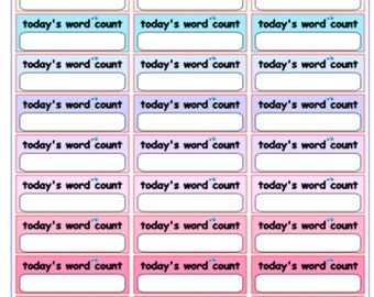 """Author Planner Stickers - Word Sheet """"Today's Word Count"""""""