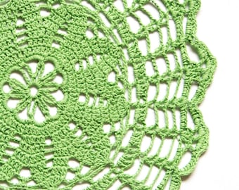 Green hand dyed Crochet Doily Vintage doily