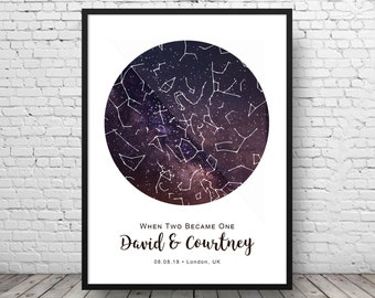 Two Become One - Star Chart - Anniversary Gift - Star Map - Star Gift - Custom Night Sky - Night Sky Print - Custom Star - Gift For Her
