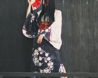 Lost in Kyoto collection japanese black and white cherry blossom kimono dress