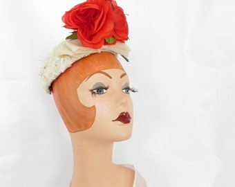 1950s white hat, vintage pillbox with red roses, Gardner