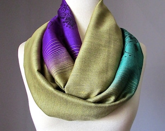 Ombre Infinity Scarf / floral scarf / ombre scarves / Purple / Mustard / Green scarf