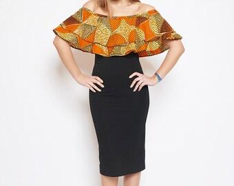 Ati boat neck dress printed wax Passion orange lenadreams