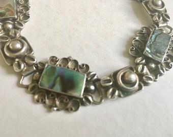 vintage sterling Mexican panel bracelet