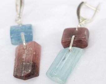 Earrings of aquamarine and  and tourmaline