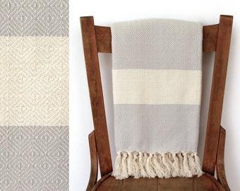 Werfen Sie Decke Baumwolle Handtuch Träumer PESTEMAL handgewebten türkischen Handtuch Strand Wrap Decke Schal werfen Bad creme hellgrau gestreift