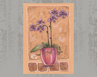 Orchid flower creature - Original ACEO, Marker illustration