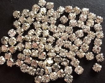 150 pieces 4mm Swarovski round crystal sew on clear stones beads