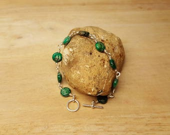 Green jasper bracelet. Sea sediment jasper. Reiki jewelry uk. Wire wrapped bracelet.