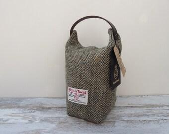 Herringbone Harris Tweed Doorstop with Leather Handle, Scottish Gift, Fabric Door Stop, UK Gift, New Home Gift, Housewarming Gift