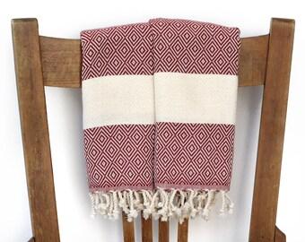 Gesicht Handtuch Küche Hand Handtuch Baumwolle türkische Handtuch handgewebte Baumwolle Badezimmer Handtuch Geschirrtuch Gast Handtuch DIAMANT BURGUND rot PESHKIR-Set
