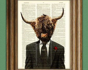 Shamus MacFurry the highland bull cow in a suit and tie illustration beautifully upcycled dictionary page book art print