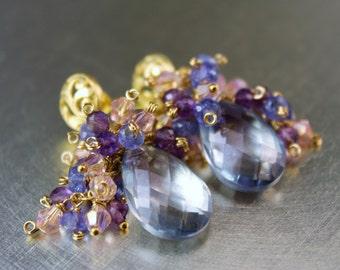 The Courcheval Earrings- Sky Blue Quartz Briolettes, Tanzanite, Amethyst, Swarovski Pink Bicones, Gold Filled Wire, Bali Vermeil Posts