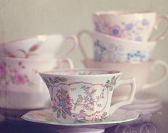Fine Art Photo, Teacup Photo, Saucers, Floral Decor, Pastel, Whimsical Art, Still Life, Cafe Art, Kitchen Art, Cottage Chic, Square Art