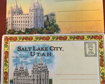 2 Vintage Salt Lake City Utah Postcard Souvenir Folders circa 1910s and 19030s