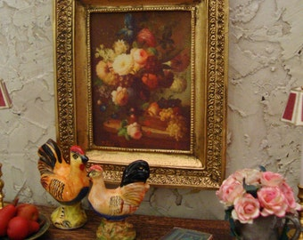 Antiqued 18th c. Mini Masterpiece French Botanical 1:12th Scale Miniature Dollhouse Accessory
