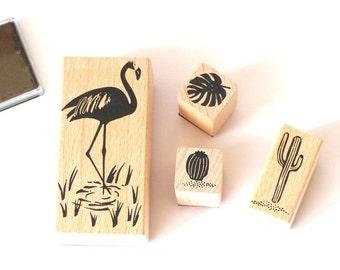 Stamp set tropical spring Flamingo