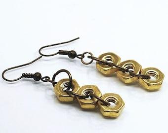 Brass Hardware Earrings- Hex Nut Found Object Jewelry, Hardware Jewelry, Industrial Jewelry, Modern Geometric Jewelry by Tanith Rohe