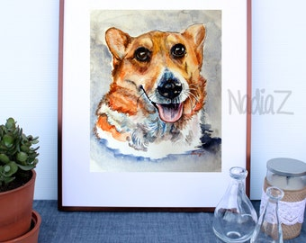 Custom Watercolor Dog Portrait, Pet Portrait from Photo, Custom Pet Art