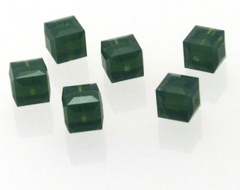 Clearance Sale 6pcs 6mm Palace Green Opal  Swarovski Cubes, Swarovski Cube, 6mm Cube Bead, Green Swarovski Square Cube Bead