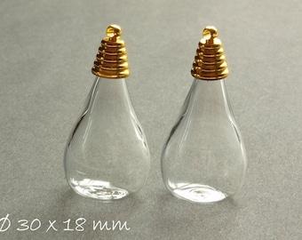 2 PCs - hollow beads clear drops 30 x 18 mm flat