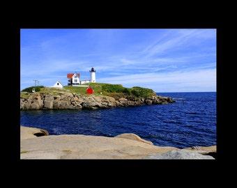 Coastal Decor-Maine Photography-Nubble Light-Lighthouse Photography-Nautical Wall Art-Blue Wall Art-Fine Art Print-Large Sofa Art-Home Decor