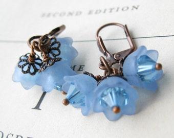 Blue skies bell earrings