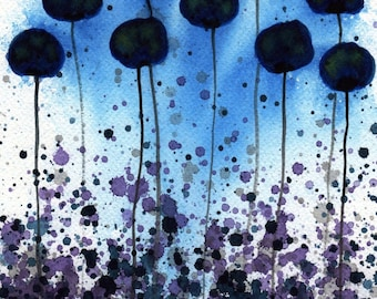 Watercolor Painting: Watercolor Flower Painting -- Art Print --  Velvety Twilight -- Midnight Blue Flowers -- 11x14