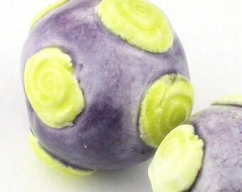 Round Ceramic Beads, ceramic beads, purple beads, yellow beads, bumpy beads, chunky beads, porcelain beads, swirl beads, bead set