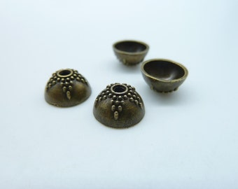 30pcs 8mm Antique Bronze  Bead Caps c2569