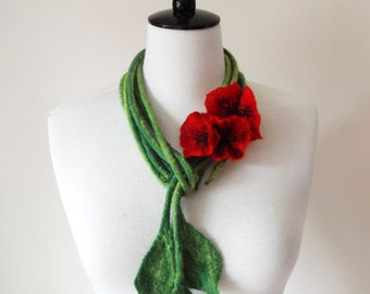 Fiber Felt Necklace Poppy Flower Bib Necklace
