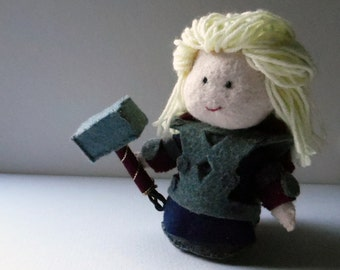 The Mighty Thor felt doll, made in France - Marvel's Avengers geekery Marvel Avengers collectible - for Thor fans