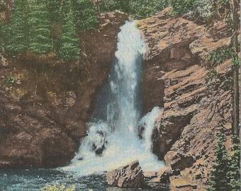 Vintage 1950's Vintage Linen Postcard of Two Medicine River Flows Resulting in Trick Falls in Glacier Park Montana