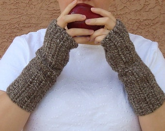 Brown Cookie Dough Fingerless Gloves for Men or Women, Crochet Wrist Warmers, Arm Warmers, Fingerless Mittens, Mitts, Gloves MADE TO ORDER
