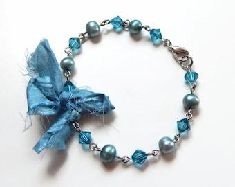 Pearlie - teal blue bracelet - blue pearl bracelet - teal crystal bracelet - Swarovski crystal - ribbon bracelet