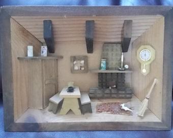 3D Wooden Shadow Box Picture Diorama Old Fashioned Farm Kitchen Scene