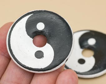 Ying Yang Pendants, 1pc, 43mm,  Painted Disc,  Clay Beads, Ying and Yang -R150