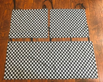 Race Car Checkered Flag *100% Cotton Fitted Crib Toddler Sheets and 3 Sided Straight Crib Skirt Boys Bedding Black and White Check