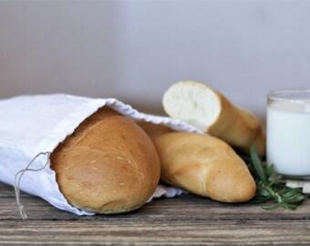 White Natural Linen Bread Bag*storage bag*linen drawstring bag*reusable bag*food bag*sandwich bag*linen gift bag*laundry bags*