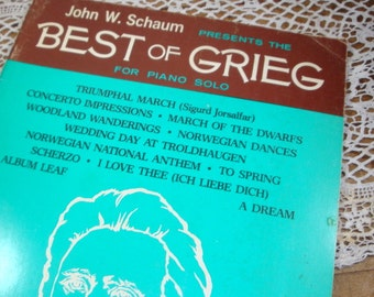 Best of Grieg, Piano Solo Music Book, Songs, Composer, John W. Schaum, 1971  (673-14)