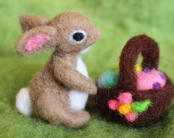 Easter Bunny with Easter Basket & Easter Eggs, Needle Felted, Handmade, Waldorf Inspired