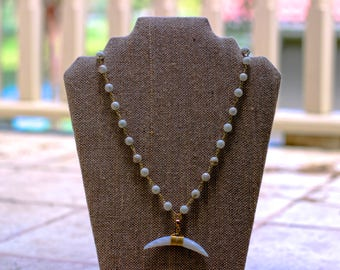 Long Double Horn Necklace