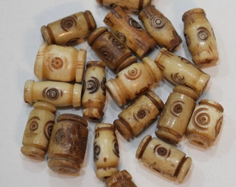 Beads Indonesian Bone Carved Small Tube Vintage 15mm - 16mm