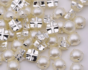 100pcs 6 7 8mm White Pearl Beads Sewing Rhinestone Beads Applique Sew On Crystals Stones Flatback Half Round Pearls for Clothes Crafts