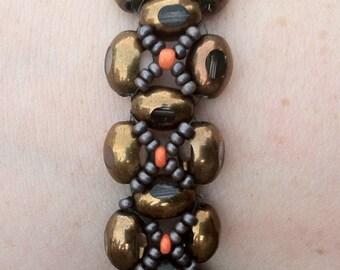 Glass Bead Brown Bracelet  Mythology inspired bracelet Beadweaving Bracelet